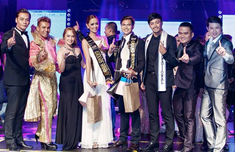 Anthony John Garcia with co-winner Janina Espinoza (center), and (from left to right) DTM 2015 winner Mark Hermoso, catwalk guru Eddy Rosdi, Morpheus' Maria Anthonete Fadallan, Mister International 2104 Niel Perez, Arthur Jake Villanueva, and Dhave dela Cruz.