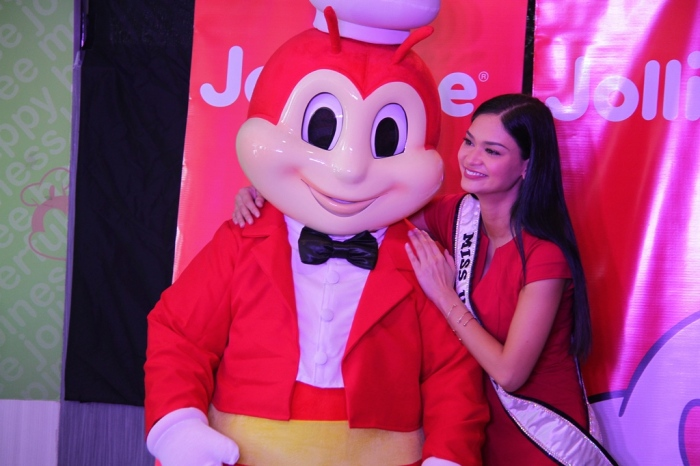 JOLLIBAE. True blue childhood friends, Jollibee and Miss Universe Pia Wurtzbach were reunited yesterday for a children's party for the orphans at Manila's ERMA Foundation. Growing up, Pia has always been a fan of the fastfood brand and even celebrated one of her memorable birthdays as a kid with a Jollibee party.
