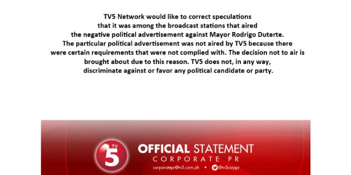 TV5 Statement on Duterte Ads