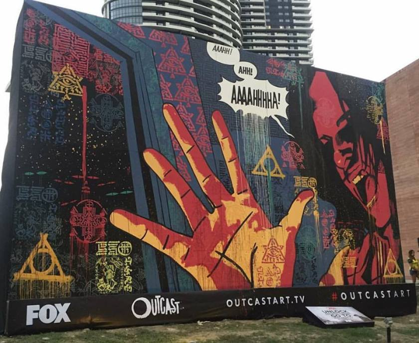 Days before the premiere of @foxchannel_ph's ‪#‎Outcast‬ horror series, this ‪#‎OutcastArt‬ based on Paul Azaceta's illustration and interpreted by Team Manila was unlocked earlier today here at BGC. Outcast is a 10-episode per season series to air starting June 4th, exclusively on FOX channels in over 125 countries outside the USA. ‪#‎OutcastonFox‬