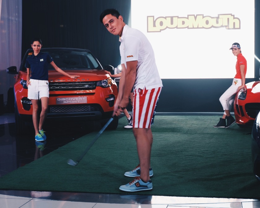 Model Sam Louie Turner sporting a Loudmouth Golf apparel during the launch-fashion show.