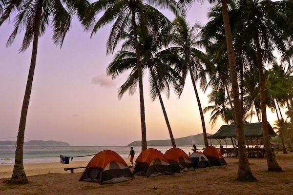 Camping at Nacpan Beach in El Nido, Palawan