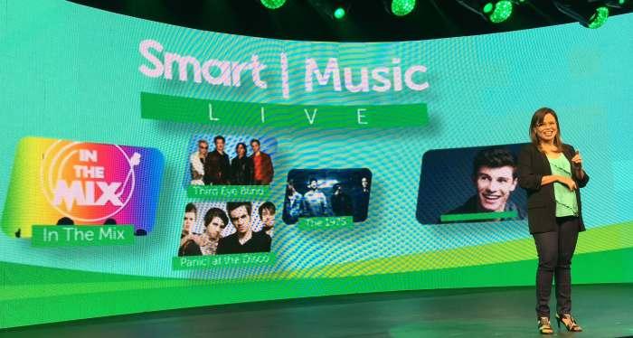 Smart Wireless Consumer Operations Head Katrina Luna-Abelarde unveils performers at Smart Music Live kick off set on Thursday, July 14.