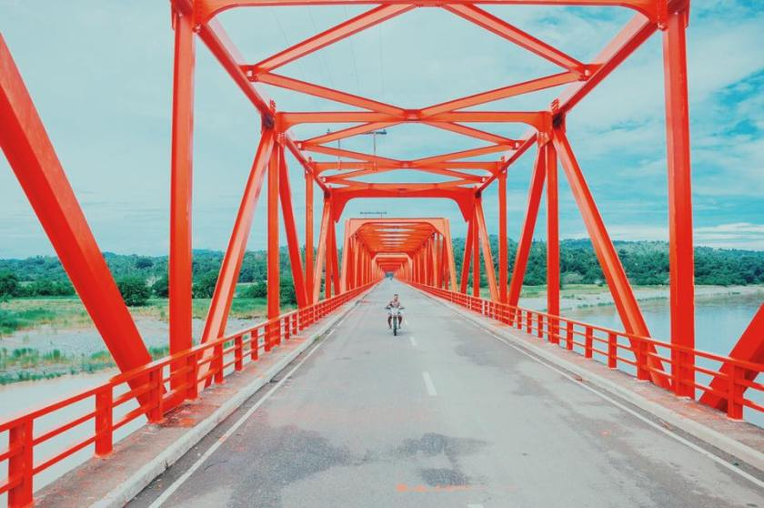 Abra province highway and motorcycle, the Philippines