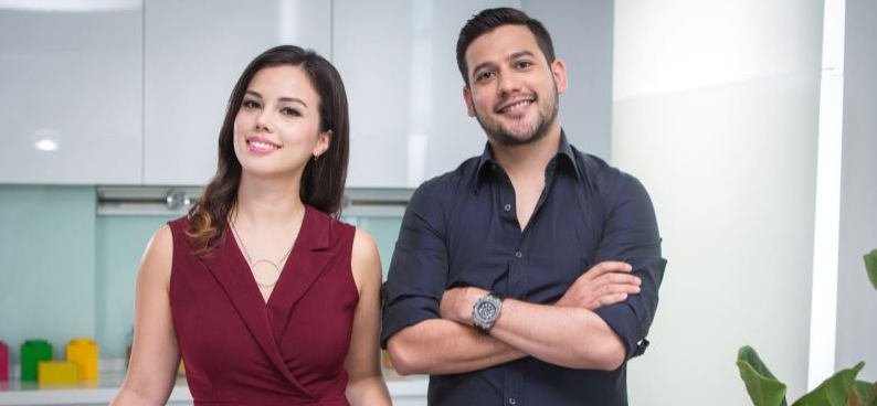 Cooking for Love hosts Sarah Benjamin and Nik Michael Imran