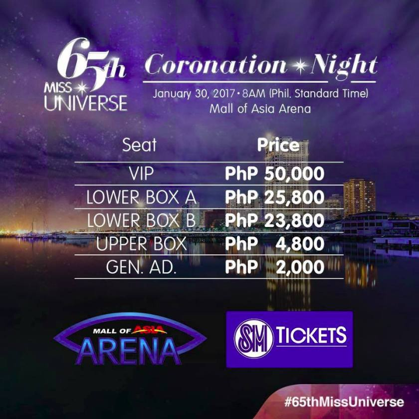 Miss Universe 2016-2017 ticket-prices