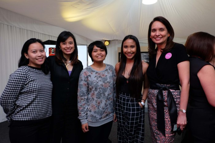 A Representative from Tin-Aw Gallery Museum, Top Winner Henrielle Pagkaliwangan, Don Papa Brand Director Monica Garcia, Brand Manager Cristhel Molina, and Lisa Periquet - Art Fair Philippines Co-Founder.