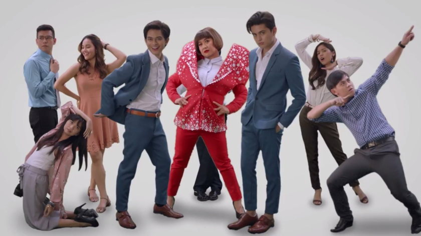 The cast of the Jolliserye with James Reid, and Miss Eugene Domingo.
